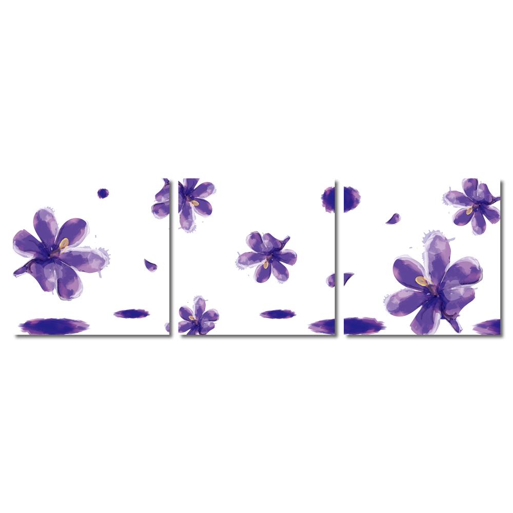 123點點貼- 三聯式壁貼重覆黏貼窗貼無痕不殘膠-紫百合30*30cm