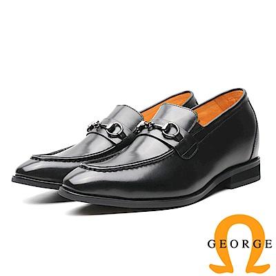 GEORGE 喬治-內增高系列 金屬扣環直套式皮鞋 男鞋-黑