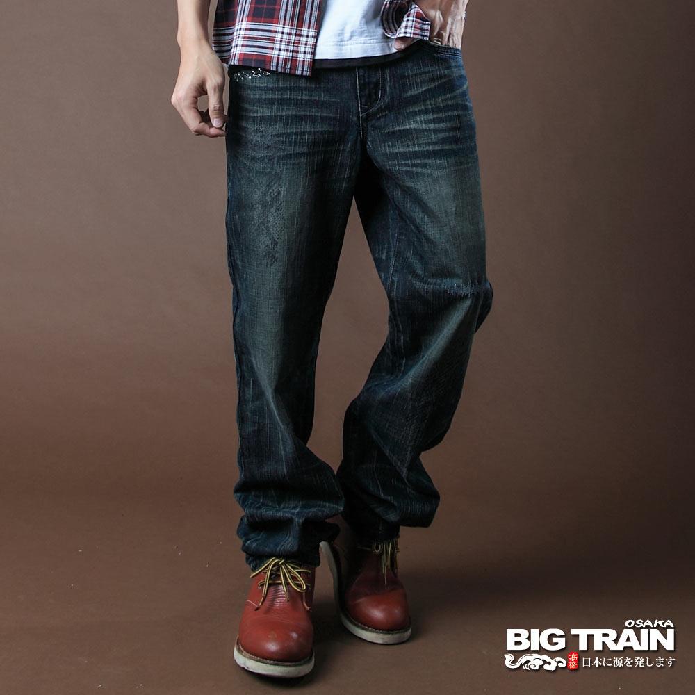 BIG TRAIN-湛藍街頭垮褲-中藍