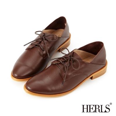 HERLS 全真皮 職人穿搭兩穿德比牛津鞋-棕色