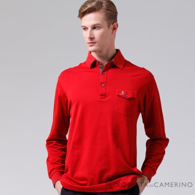 ROBERTA諾貝達-台灣製-嚴選穿搭-時尚長袖POLO棉衫-紅色