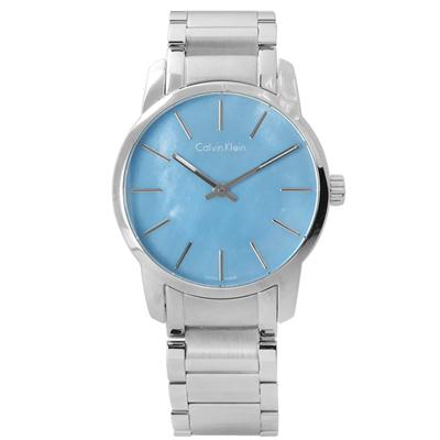 CK 都會女伶鏡面不鏽鋼腕錶-水藍色/31mm