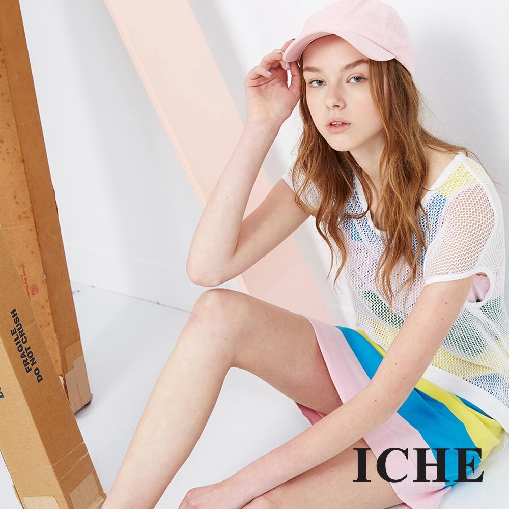 ICHE 衣哲 兩件式拼接條紋洋裝 兩色