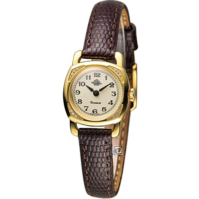 Rosemont 玫瑰錶迷你版玫瑰系列 時尚腕錶-金x咖啡/20x20mm