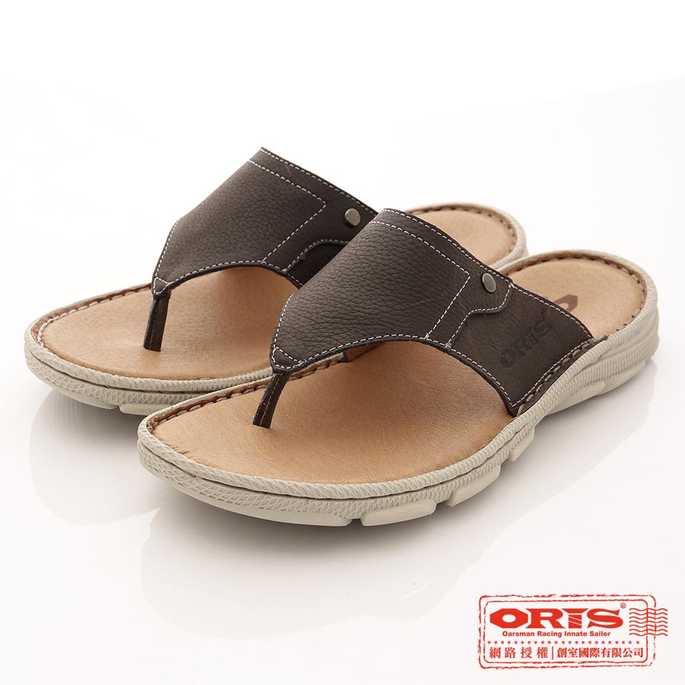 ORIS男款 真皮時尚流行腳夾拖鞋 黑-SA17392L01