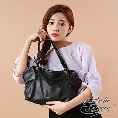 La Poche Secrete真皮 韓系時尚真皮摺耳質感肩背側背托特包-百搭黑