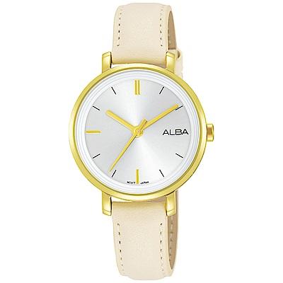 ALBA 雅柏 俏麗大三針皮帶女錶(AH8488X1)-金x白/30mm
