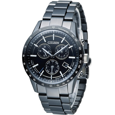 CITIZEN 星辰 極光時尚光動能大錶面腕錶-黑/40mm