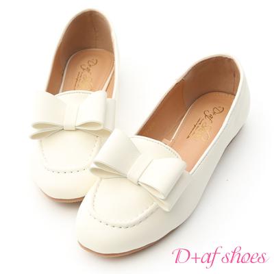 D+AF 甜美可愛.大蝴蝶結樂福娃娃鞋*白