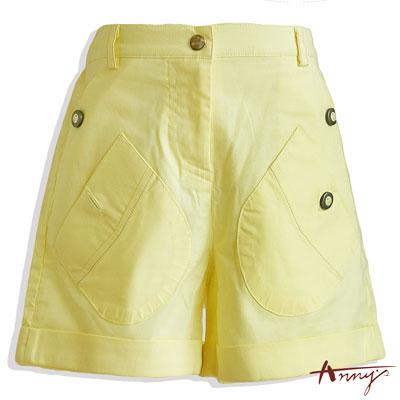 Annys鮮豔繽紛雙層口袋反摺短褲*0319黃