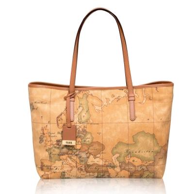 Alviero Martini 義大利地圖包 扣式手提肩背托特包(中)-地圖黃