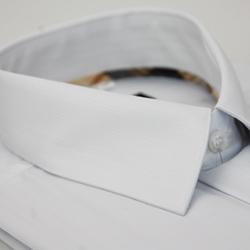 金‧安德森 經典格紋繞領白色暗紋長袖襯衫