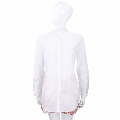 ROCCO RAGNI 白色透膚袖口設計長版襯衫