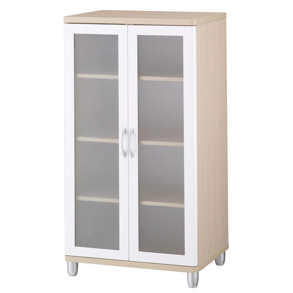 【晶面圓角-白橡系列】雙玻璃門櫃(鏡面烤漆)