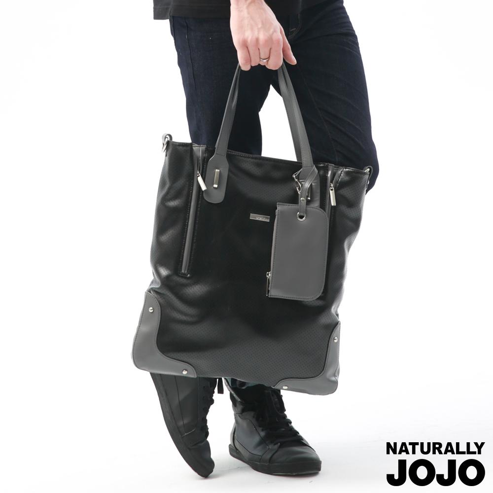 NATURALLY JOJO 真皮設計拉鍊肩背包(黑)