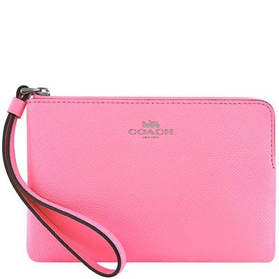 COACH 亮粉紅色防刮皮革手拿包