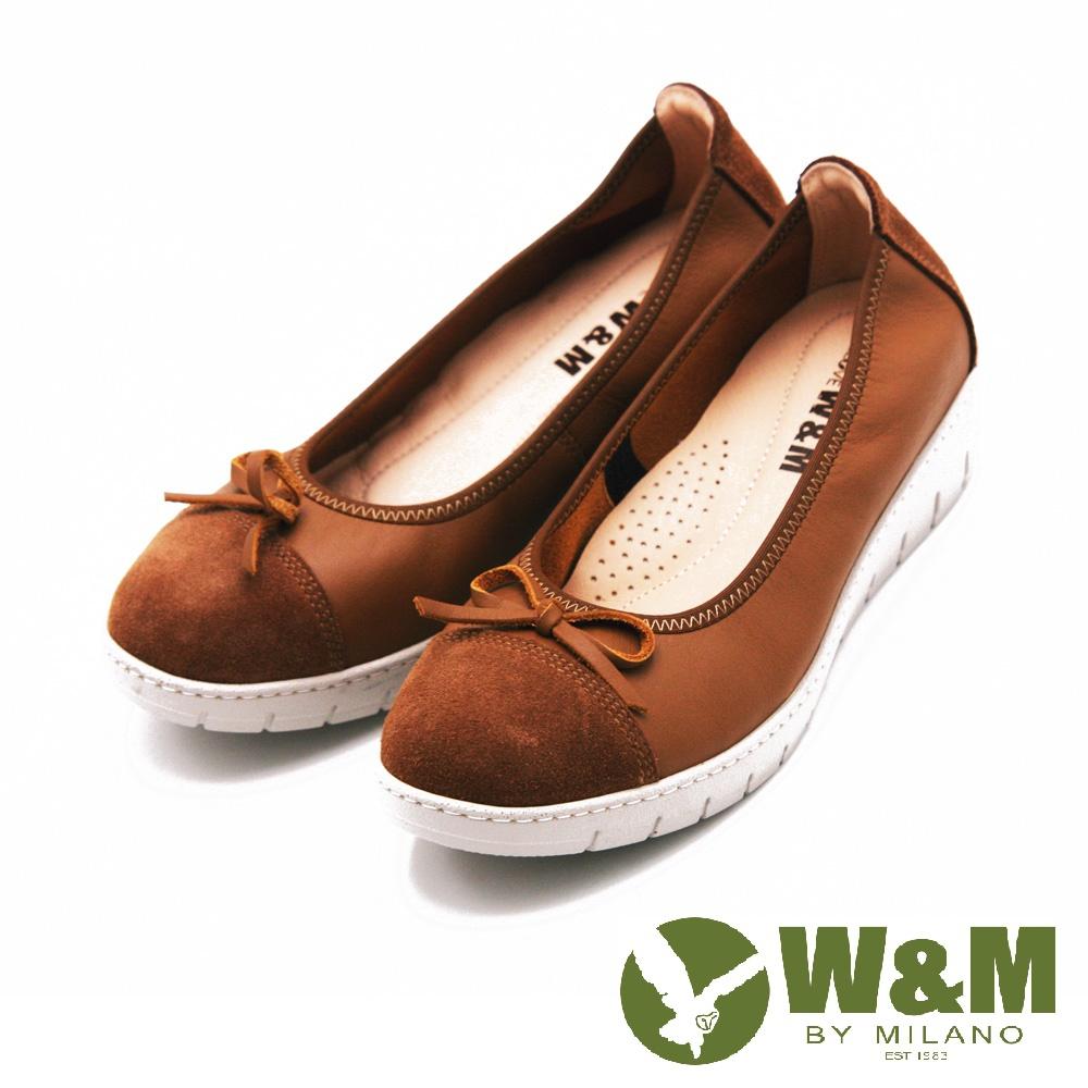 【W&M】FIT 厚底增高素色蝴蝶結娃娃鞋 女鞋-棕(另有黑)