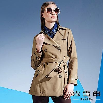 麥雪爾 仕女風修身綁帶長版風衣外套