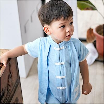 baby童衣 假兩件式中國結前開連身衣 80094