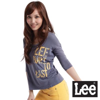 【Lee】七分袖U領T恤-女款(灰藍)