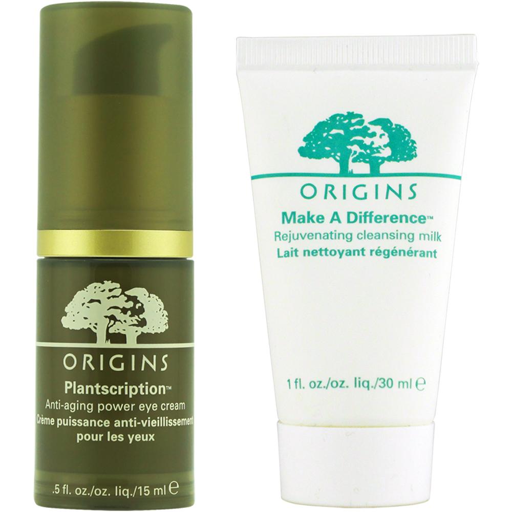 ORIGINS 品木宣言 駐顏有樹緊緻抗痕眼霜 15ML+扭轉乾坤賦活保濕潔顏乳30ML