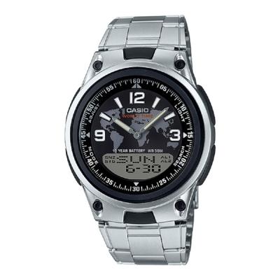 CASIO 世界玩家地圖顯示30組記憶不銹鋼雙顯錶(AW-80D-1A2)黑面/40mm