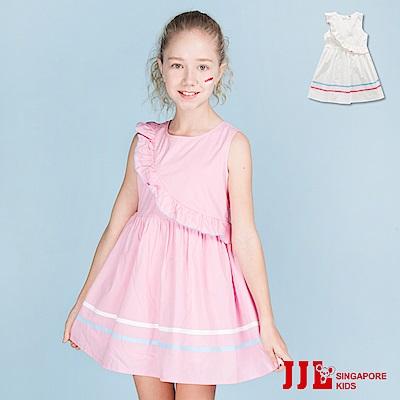 JJLKIDS 甜美女孩斜邊波浪無袖棉洋裝(2色)