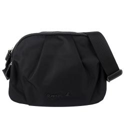 agnes b. voyage 黑色金屬字樣雙拉鍊斜背包