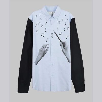 摩達客-韓國進口EXO合作設計品牌DBSW Maestro 大音樂家時尚純棉長袖襯衫