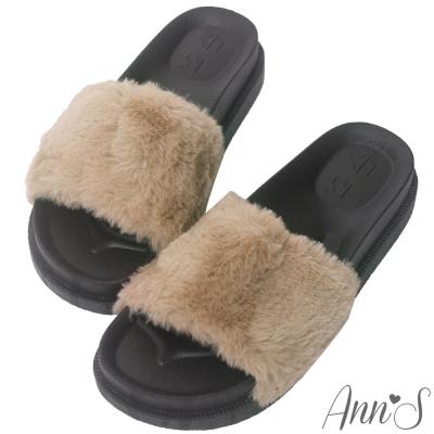 Ann'S韓國時尚厚底超軟毛毛拖鞋-棕