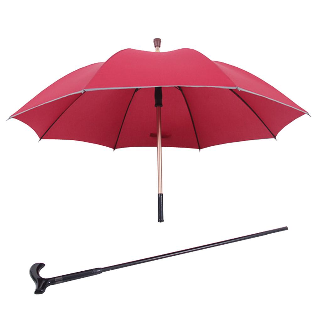 PUSH! 好聚好傘, 抽拉式管設計,可單獨使用枴杖的雨傘拐杖傘登山杖I30-2酒紅