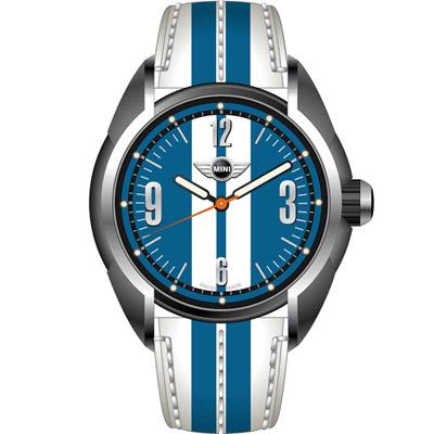 MINI Swiss Watches  休閒運動腕錶-白+藍/水藍/38mm