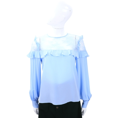 PINKO 水藍拼接透膚紗質長袖上衣