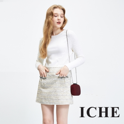 ICHE 衣哲 立體毛呢感香奈兒風鉛筆造型短裙