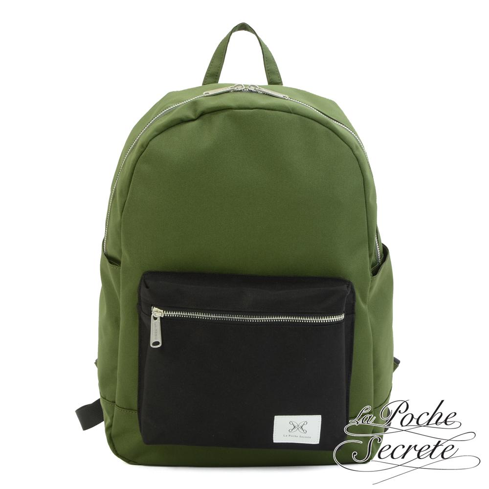 La Poche Secrete 率性韓風自在休閒帆布撞色口袋後背包 綠x黑