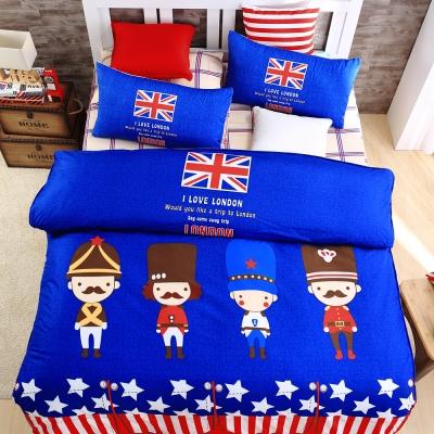 DON英倫士兵 雙人四件式蜜絲絨全舖棉兩用被床包組