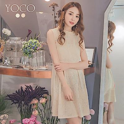 東京著衣-yoco 法式美人質感蕾絲花邊無袖洋裝-S.M.L(共二色)