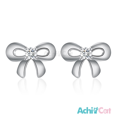 AchiCat 925純銀耳環 小巧蝴蝶結 純銀耳針