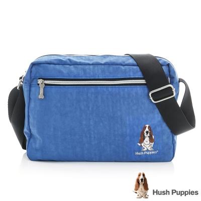 Hush Puppies 素色休閒斜背包(中)-寶藍色