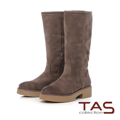 TAS 復古擦色素面絨布厚底長靴-煙燻咖