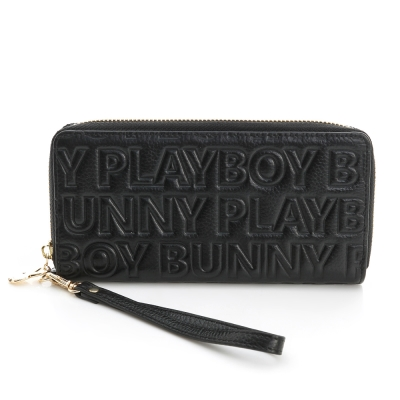 PLAYBOY- 風琴式長夾 Fashion Brand 時尚烙印系列-時尚黑