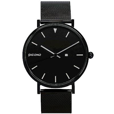 【PICONO】RGB 系列 輕薄黑色快拆式不鏽鋼網帶手錶 / RGB-6501 銀色