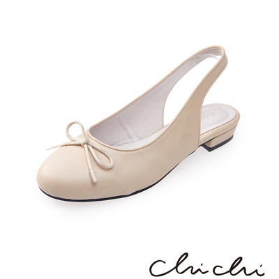 Chichi 圓頭蝴蝶結後縷空平底鞋*米色