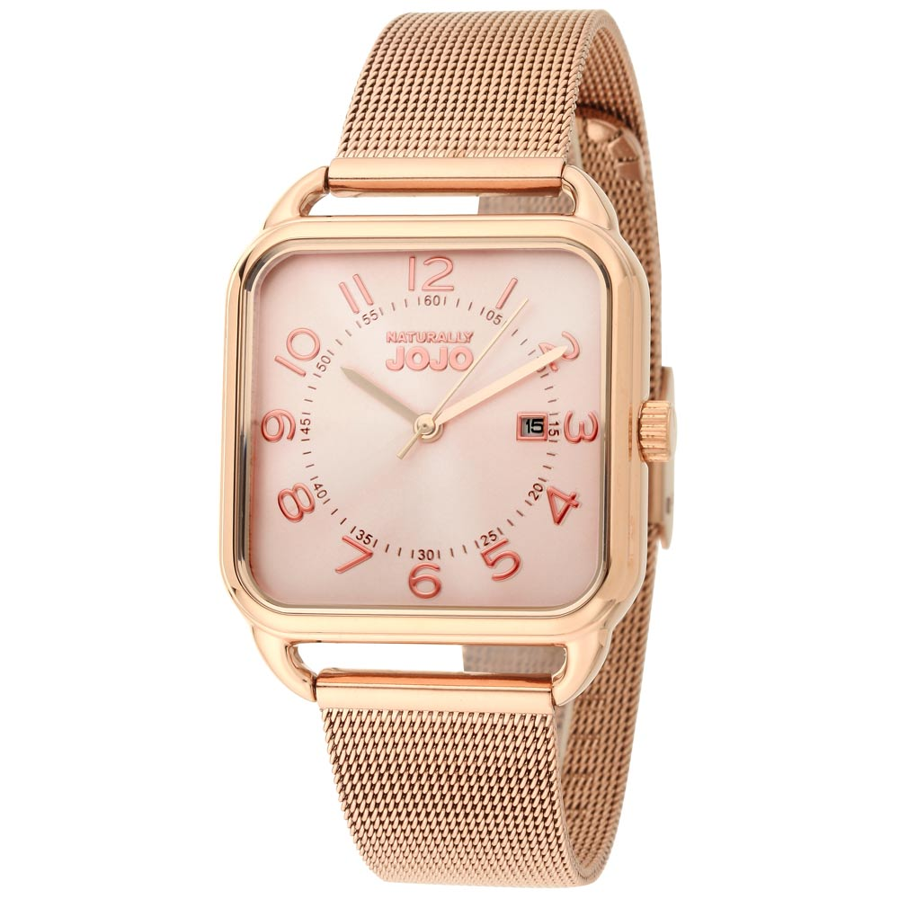 NATURALLY JOJO 數日子美好時光方型復刻米蘭帶錶-玫瑰金/32mm