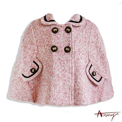 質感單排蝴蝶結鈕扣造型披風外套*4672粉