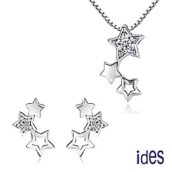 ides愛蒂思 輕珠寶。日韓風尚設計925純銀晶鑽項鍊耳環套組/明日之星