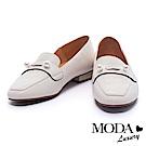 平底鞋 MODA Luxury 俐落質感金屬珍珠牛皮平底鞋-米