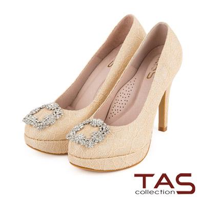 TAS 浪漫蕾絲水鑽飾扣高跟鞋-浪漫卡其