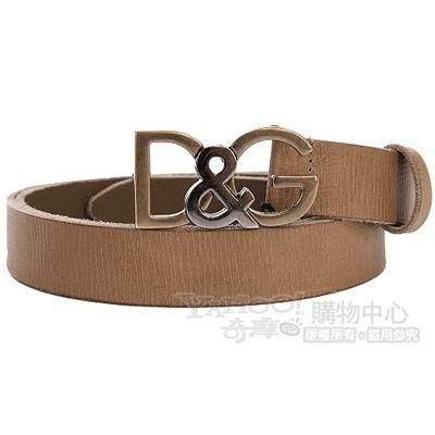 DOLCE & GABBANA 仿舊金屬logo壓紋皮革腰帶(棕色)