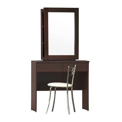AS-安格斯2.7尺胡桃色二抽活動鏡化妝桌-81x43x149cm